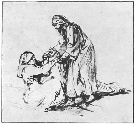 Jesus Heals Peter's Mother-in-law by Rembrandt