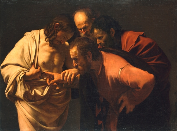 The Incredulity of St. Thomas by Carivaggio. 1601-2
