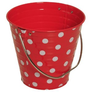 red and white bucket