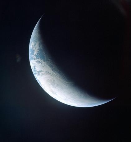 Crescent earth from Apollo 4